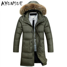 down jacket 2017 mens winter jackets and coats fur hooded male down coat men's long parka thick warm outerwear WLF092