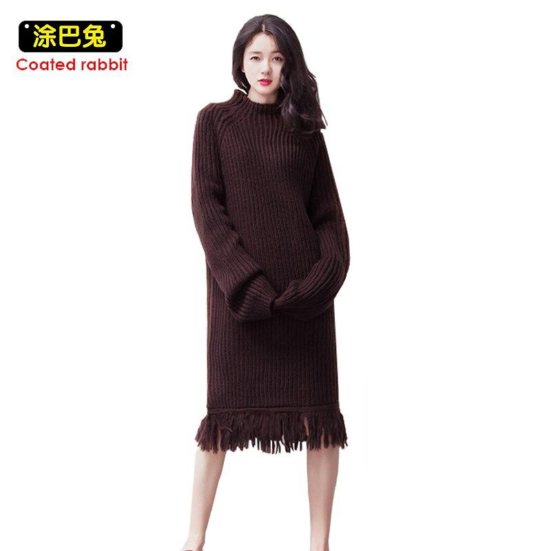 Coated rabbit High Street Knitted Sweater Dress Women Winter Loose Tassel Dresses Turtleneck Pullovers Knitting Dress 2017 LadyÎäåæäà è àêñåññóàðû<br><br>
