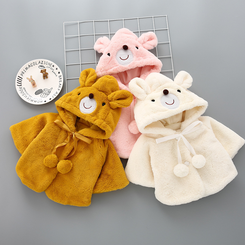 Baby Poncho Winter Bear Style Coat Cloak Jacket Thick Cartoon Clothes Baby Girl Cute Hooded Coats