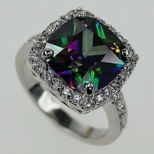 Fancy Rhodium Plated Ring Rainbow Mystic and white Cubic Zirconia R3593 Size # 6 7 8 9 10 Noble Generous Rave reviews Brand New