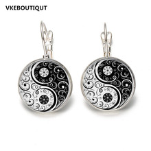 Hot! Selling Glass Cabochon Earring White And Black Yinyang Art Picture Stud Earring 2017 New Jewelry Gift Silver/Bronze Color