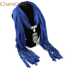 Scarves Hot Autumn Winter Women Necklace Scarves Owl Pendant Jewelry Tassels Scarf Wrap Shawl For Women Drop Shipping ap22(China)