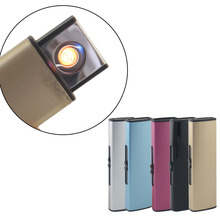 Windproof Rechargeable USB Lighter Personality Electric Cigarette Lighters Novelty Flameless Torch No Gas 5 Colors Drop Shipping(China)