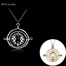 Wholesale High quality Hermione Granger Rotating Time Turner Necklace Gold Silver Hourglass Pendants Party Accessories