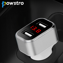 Powstro Car Charge 3.1A Max Output Mini Dual USB Car Charger Volmeter Display Voltage Current DC 12-24V For Smartphone Tablets(China)
