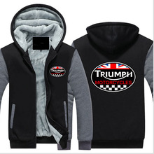 New Fashion Winter GREAT BRITAIN TRIUMPH MOTORCYCLE Thicken Fleece Zip up Hoodies men Casual Tops USA EU size Plus size