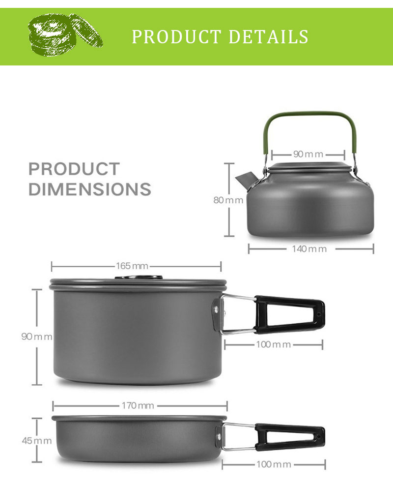 Outdoor Camping Picnic Aluminum Alloy Tableware Cookware Pots Frying Pan Bowl Set For Camping Outdoor Travel High Quality 04