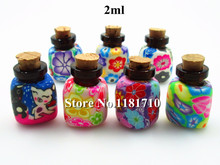 2ml Polymer Clay Perfume Bottle with Natural Wood Cork Necklace Pendant Essential Oil Glass Bottle with Wood Stopper