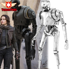 3D Metal Puzzle Star Wars k-2so Robot Model Laser Cutting 3D Metal Puzzles Miniature Model DIY Jigsaws Gold Intelligence Toys(China)