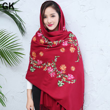 GONZETANNK Luxury Brand 2017 Shawls and Wraps Cashmere Women Beautiful Scarves Embroidery Thickening Warm Cashmere Scarvf