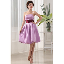 Custom Made Vestido De Festa Curto Lavender Satin Sash Knee Length Cocktail Dress Short Prom Dress