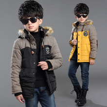Winter 2015 new boy coat kids boys' winter outerwear hooded coat top quality thick wadded jacket/parkas child clothing 5-12Years