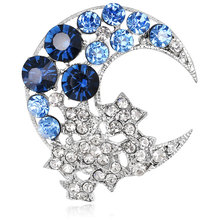 2017 new Korean fashion cute star moon alloy crystal studded crystal brooch corsage pin women jewelry gifts