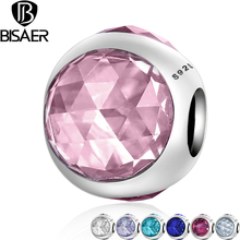 BISAER Genuine 925 Sterling Silver Radiant Droplet, Pink CZ Crystal Beads fit Pandora Charm Bracelet Jewelry Accessories EDC092