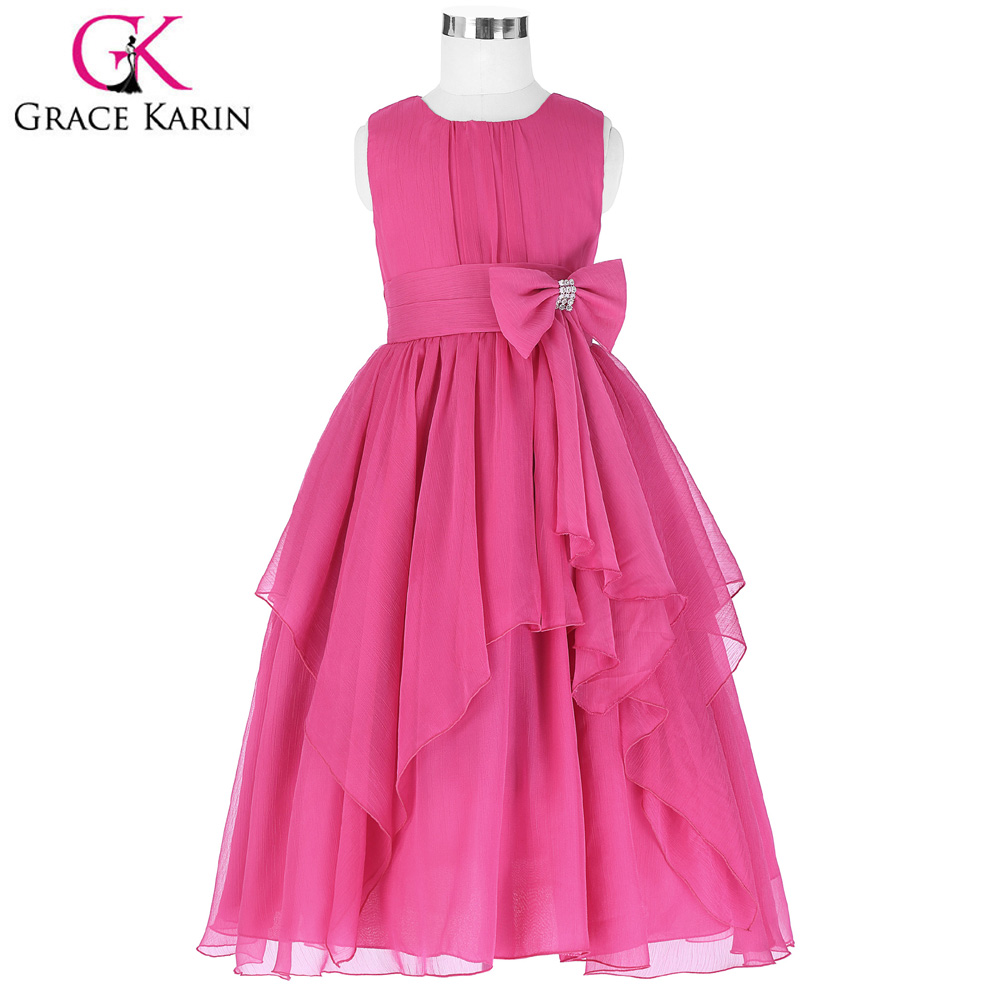 Grace Karin Chiffon Flower Girl Dresses 2018 Princess Children Kids Communion Dress Girl Evening Gowns Pageant Prom Dresses