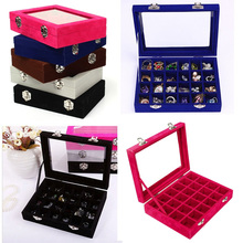 24 Grids Black Rose Red Velvet Jewelry Box Rings Earrings Necklaces Makeup Holder Case Organizer Women Jewelery Storage #86003(China)