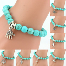LNRRABC Hot 1 Pc Women Lady Girl New Fashion Popular 11 Styles Beads Cross Key Owl Elephant Bracelet(China)