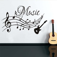 High Quality Musical Notes Music Wall Stickers PVC Removable Living Room DIY Nursery Home Decor Guitar Wall Decals Wholesale