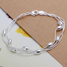 H236 925 silver bracelet, 925 silver fashion jewelry Three Line Gloss Ball Bracelet /azvajrca awjajnqa(China)