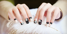 24x Black Fake Nail Decoration False Ongle Full Nails Tips Art Christmas Ornaments Snowflake Decal DIY Manicure Gift for Party