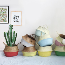 Wicker Straw Storage Basket Flower Pot Folding Baskets Flower Vase Hanging Home Garden Pot Planter Organization Storage Tools(China)