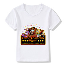 Children Summer Five Nights At Freddy Print Funny T-Shirt Kids Apparel Baby Clothes Boys Girls Cartoon 5 Freddys Top Tee,HKP2052(China)