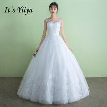 It's YiiYa Off White Sleeveless O-Neck Popular Wedding Dresses Plus Size Embroidery Pattern Lace Up Luxury Wedding Gown D308