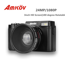 AMKOV CDR2 Digital Camera 3 inch TFT Screen 24MP 800W Pixel Camera Video Camcorder Super Wide Angle Lens / With Macro Lens(China)