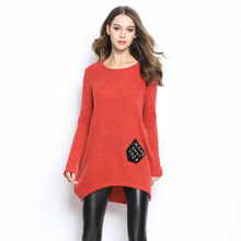 2017 winter European station We are 'S mohair one CK pocket long sleeves knitting loose ladies pullover We are Christmas sweater(China)