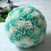 Tiffany Blue 8inch 20cm Silk Kissing Artificial Rose Flowers Ball for Wedding Tea Party Decoration Christmas Decor Supplies DIY