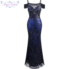 Angel-fashions vestido de festa Boat Nect Sequin Mermaid Long Evening Dress Abendkleid Black 220(China)