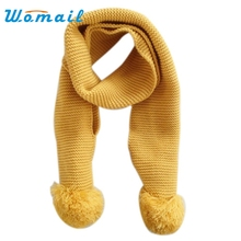Womail 2015  Solid Color Children Winter Retro Scarf Unisex Neck Collar Warm kids Cute Knitted Scarves for boys girls