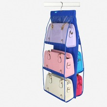 Transparent Dust proof Non-woven 6 Pocket Hanging Storage Bag Closet Hanger Purse Bag Organizer(China)