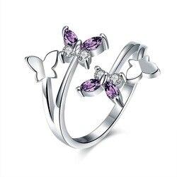 Женское кристаллическое кольцо с бабочками