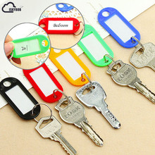 ISKYBOB New 10PCS Colorful Key ID Labels Name Tags Split Ring Car Door Keyring Keychain(China)