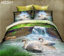 swans 3D bedding set Digital HD bedclothes 3d comforter cover bed sheet pillowcases 3d oil bed cover sale 5341