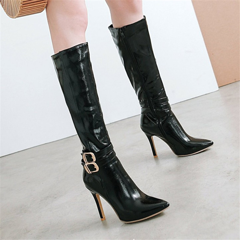 10CM Extreme High Heels Boots Fashion Pole Dancing Knee-High Boots Side Zip Ladies Knee Boots Plus Size 33-48 Woman Winter Shoes (9)