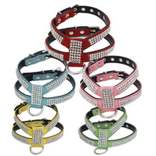 Fashion Bling Rhinestone Soft Suede Fabric Dog Harness  for Small Dog Puppy Cat Black Pink Yellow Green Pet Accessories