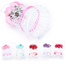 White Bird Cage Wedding Party Gift Box Metal Candy Chocolate Flower Decoration Wedding 1pcs(China)