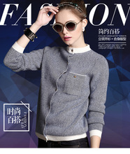 Women's Long Baseball Kitted Cashmere Cardigan Sweater Female Autumn Winter Half Turtleneck Brand New Casual Blue Cardigans 2016