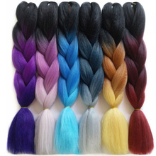 Feilimei Ombre Braiding Hair Extensions 5pcs/lot Synthetic Yaki Straight jumbo Braids 100g/pc Black/Grey/Purple Hair