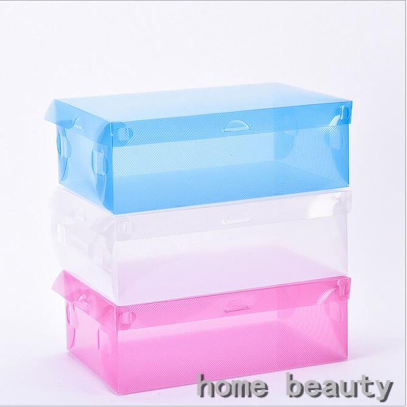 5pcs/lot Colorful Clear Plastic Shoes Storage Box Foldable Drawer Type Box For Women men Shoes Organizer FH218(China)