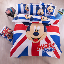 Cartoon  Bedding Set  Mickey Mouse Hello Kitty Printed for Kids Cotton Bed Linen 4pcs Duvet Cover Bed Sheet Pillowcases