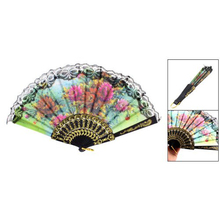 Lady flower Print Chinese Japanese Foldable Hand Fan Black