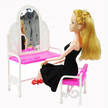 1Pcs Dressing Table & Chair For Barbies Dolls Bedroom Furniture Doll Accessories Barbie Doll Girl Gift Kid Play House Toys(China)