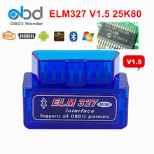 High Quality Bluetooth ELM327 OBD2 Scanner V1.5 Hardware ELM 327 1.5 Car Code Reader With PIC18F25K80 Chip For Android Torque PC(China)