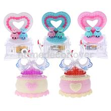 Lovely Heart/Swan Music Box Clockwork Wind-Up w/ Light Sing To Alice for Kids Birthday Gift(China)