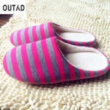 OUTAD 4 Color Winter Warm Soft indoor floor Slippers Women/Men Shoes Striped Cloth Bottom Universal Couple Lovers Plush Home(China)