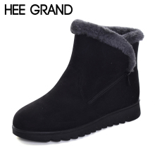 HEE GRAND Flock Winter Warm Faux Fur Snow Fashion Solid Ankle Boots Casual Women Mother Flats Shoes Woman Size 35-41 XWX6336(China)