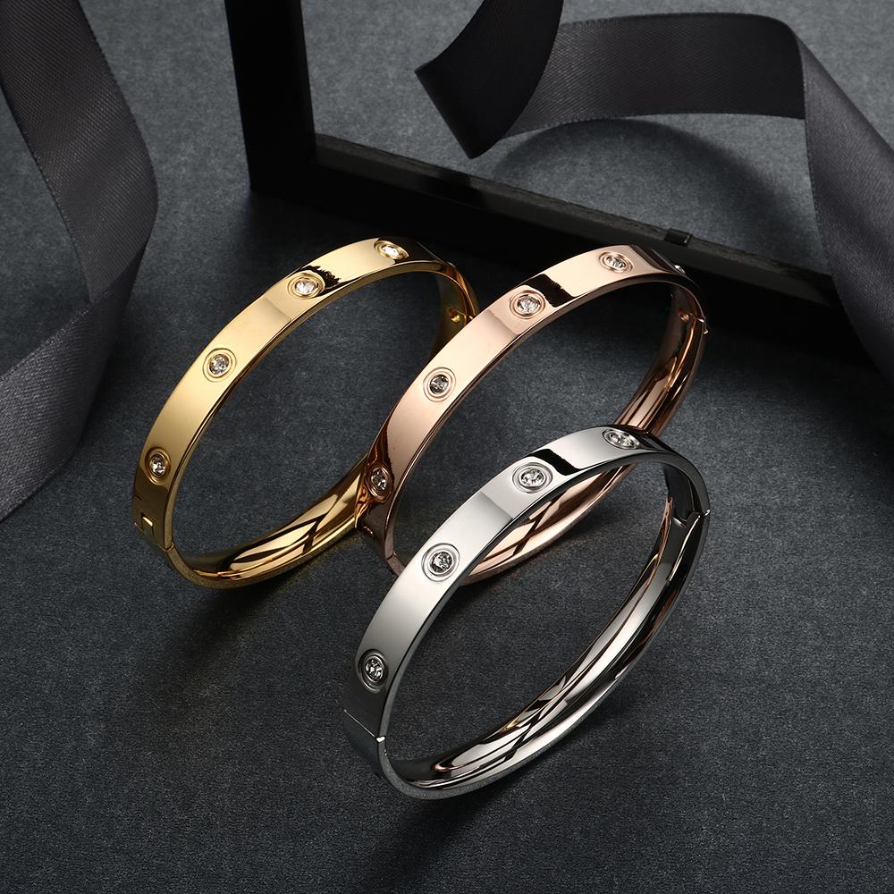 Trendy Rose Gold Love Bracelets Bangles Women Gold Color Stainless Steel Charming CZ Cuff Bracelet Lovers Luxury Brand Jewellery 14